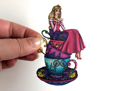 NEW LARGER Teacup Aurora PINK - Sleeping Beauty - Laser Cut Wood Brooch