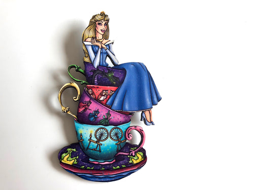 NEW LARGER Teacup Aurora BLUE - Sleeping Beauty - Laser Cut Wood Brooch