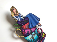 Load image into Gallery viewer, NEW LARGER Teacup Aurora BLUE - Sleeping Beauty - Laser Cut Wood Brooch