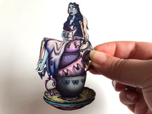 Load image into Gallery viewer, NEW LARGER Teacup Emily - Corpse Bride - Laser Cut Wood Brooch