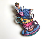 Load image into Gallery viewer, NEW LARGER Teacup Cinderella - Laser Cut Wood Brooch