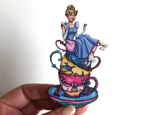 NEW LARGER Teacup Cinderella - Laser Cut Wood Brooch