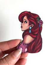 Load image into Gallery viewer, NEW LARGER Princess Profile - Ariel - The Little Mermaid - Laser Cut Wood Brooch
