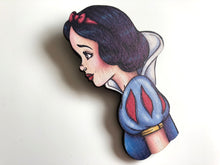 Load image into Gallery viewer, NEW LARGER Princess Profile - Snow White - Snow White and the Seven Dwarfs - Laser Cut Wood Brooch