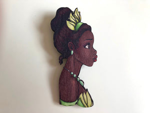 NEW LARGER Princess Profile - Tiana - The Princess and the Frog - Laser Cut Wood Brooch