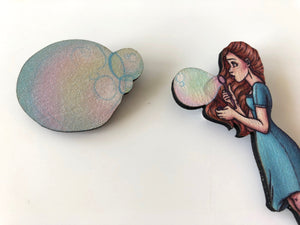 Blue Bubble Girl - Two Part Brooch - Laser Cut Wood Brooch