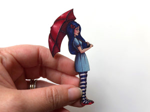 Red Umbrella Girl - Laser Cut Wood Brooch
