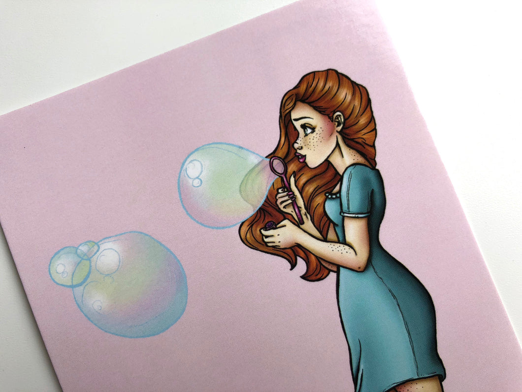 Blue Bubbles Girl - Postcard