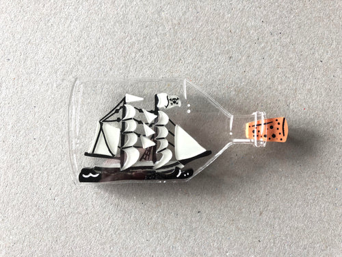 Ghost Ship in a Bottle - Glow in the Dark - Laser Cut Acrylic Brooch