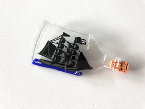 Pirate Ship in a Bottle - Laser Cut Acrylic Brooch