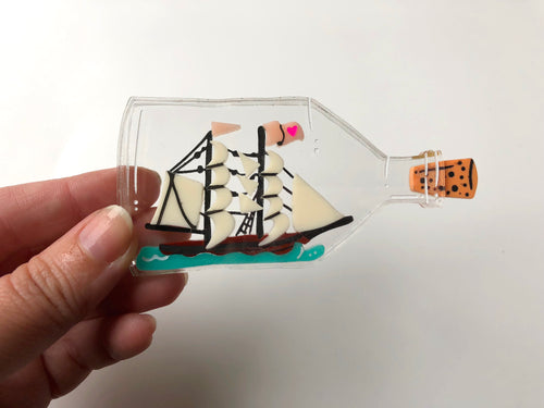 Ship in a Bottle - Laser Cut Acrylic Brooch