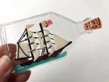 Load image into Gallery viewer, Ship in a Bottle - Laser Cut Acrylic Brooch