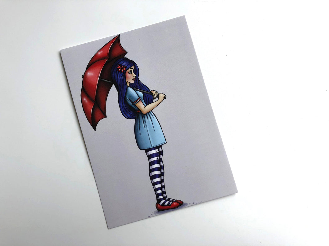 Red Umbrella Girl - Postcard