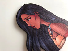 Load image into Gallery viewer, NEW LARGER Princess Profile - Pocahontas - Laser Cut Wood Brooch