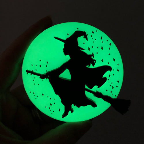 Flying Witch Oversized Brooch- Glow in the Dark - Laser Cut Acrylic Brooch