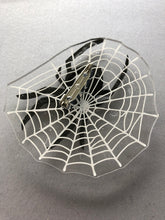 Load image into Gallery viewer, Spider in it's Web Oversize Brooch - PINK BACK - Laser Cut Acrylic Brooch