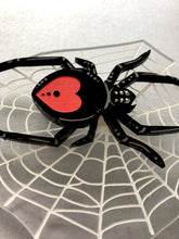 Load image into Gallery viewer, Spider in it's Web Oversize Brooch - RED BACK - Laser Cut Acrylic Brooch