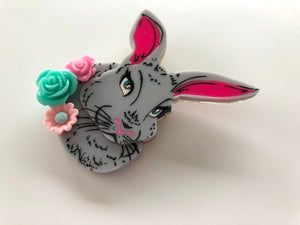 Surprise Floral Spring Grey Rabbit - Laser Cut Acrylic Brooch