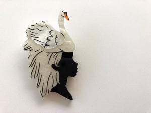 White Swan Girl - Laser Cut Acrylic Brooch
