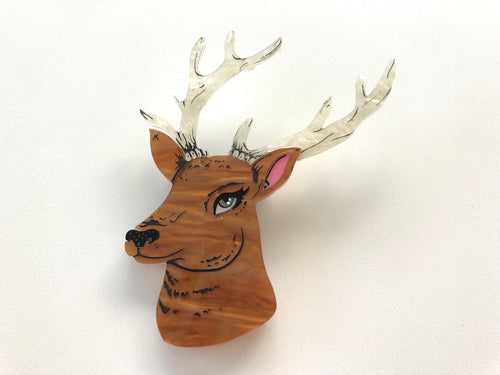 Pearlescent Spring Deer Stag with Antlers - Laser Cut Acrylic Brooch