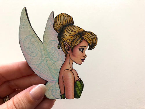 Tinker Bell - Peter Pan - Oversized Laser Cut Wood Brooch