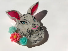 Load image into Gallery viewer, Surprise Floral Spring Pearlescent White Rabbit - Laser Cut Acrylic Brooch