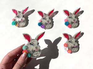 Surprise Floral Spring Pearlescent White Rabbit - Laser Cut Acrylic Brooch