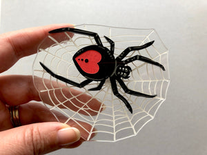 Spider in it's Web Oversize Brooch - PINK BACK - Laser Cut Acrylic Brooch