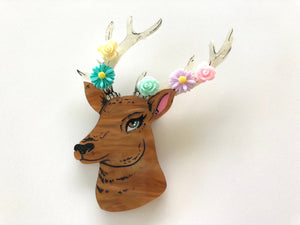 Surprise Floral Spring Deer Stag with Antlers - Laser Cut Acrylic Brooch