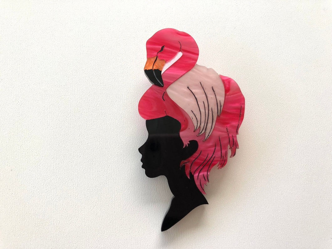 Pearlescent Flamingo Girl - Laser Cut Acrylic Brooch