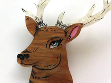 Load image into Gallery viewer, Pearlescent Spring Deer Stag with Antlers - Laser Cut Acrylic Brooch
