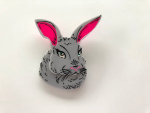 Spring Grey Rabbit - Laser Cut Acrylic Brooch