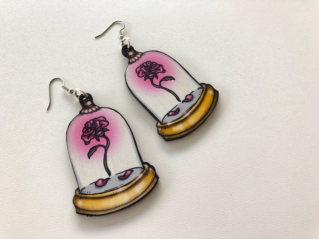 Enchanted Rose - Beauty and the Beast - Laser Cut Wood Earrings
