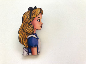 Alice - Alice in Wonderland Profile - Laser Cut Wood Brooch