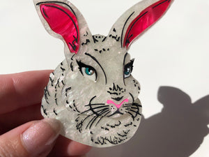 Spring White Pearlescent Rabbit - Laser Cut Acrylic Brooch