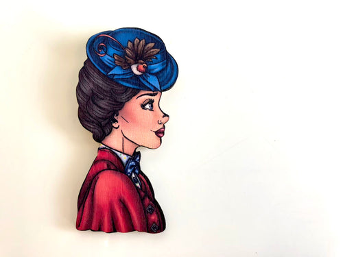 Princess Profile - Mary Poppins - Mary Poppins Returns - Laser Cut Wood Brooch