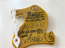 Load image into Gallery viewer, Ursula and Ariel Contract with Pen - The Little Mermaid - Laser Cut Acrylic Brooch