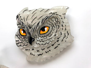 Pearlescent White Snowy Owl - Laser Cut Acrylic Brooch