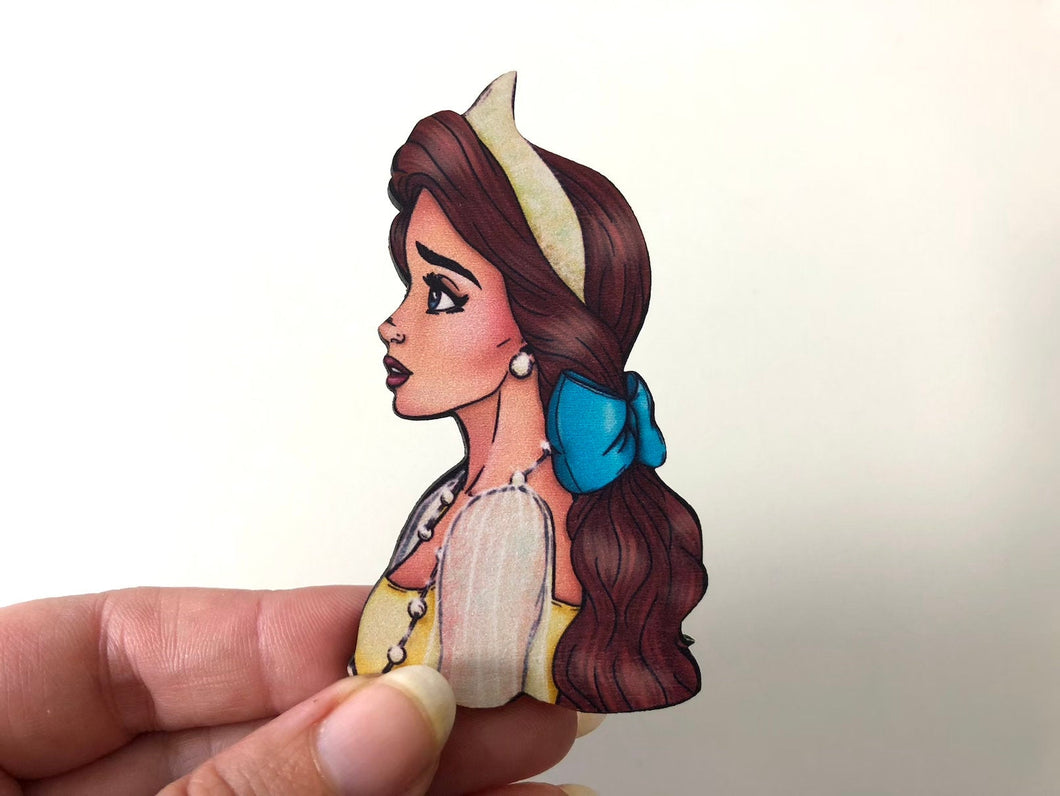 Princess Profile - Anastasia - Laser Cut Wood Brooch