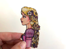 Load image into Gallery viewer, Princess Profile - Rapunzel - Tangled - Laser Cut Wood Brooch