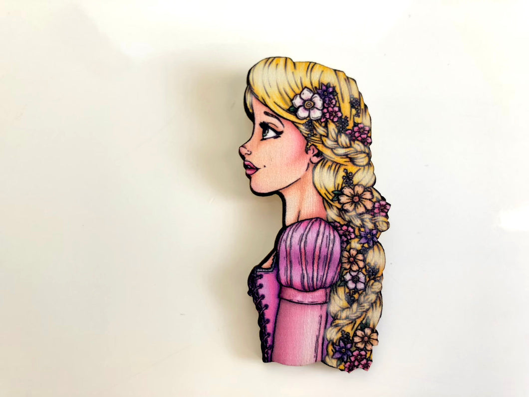 Princess Profile - Rapunzel - Tangled - Laser Cut Wood Brooch