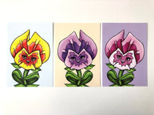 Load image into Gallery viewer, Pansies - Flower Garden - Alice in Wonderland - SET OF THREE Postcards