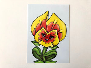 Yellow and Orange Pansies - Flower Garden - Alice in Wonderland - Postcard