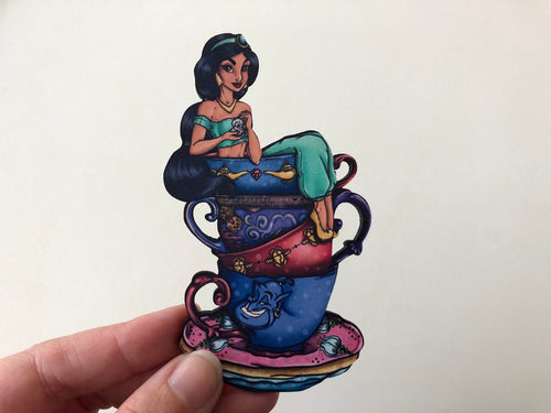 NEW LARGER Teacup Jasmine - Alice in Wonderland - Laser Cut Wood Brooch