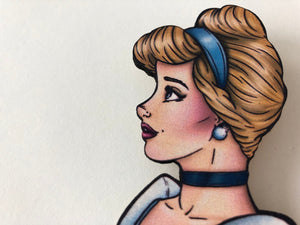 Princess Profile - Cinderella - Laser Cut Wood Brooch