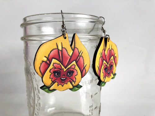 Pansies Flowers - Alice in Wonderland - Yellow and Orange - Laser Cut Wood Dangle Earrings