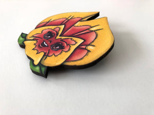 Yellow and Orange Pansy - Alice in Wonderland - Laser Cut Wood Brooch