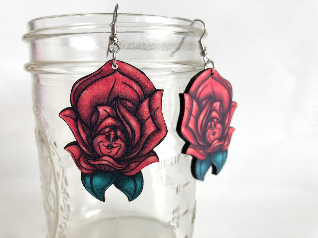 Red Rose - Alice in Wonderland - Laser Cut Wood Dangle Earrings