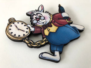 White Rabbit - Alice in Wonderland - Laser Cut Wood Brooch