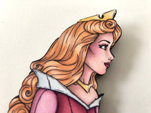 Load image into Gallery viewer, Princess Profile - Aurora PINK - Sleeping Beauty - Laser Cut Wood Brooch